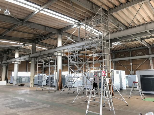 工場内天井防鳥ネット施工